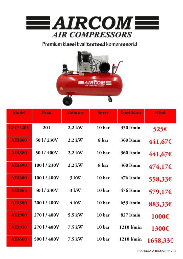Kompressorid rehvihooaeg kevad 2018